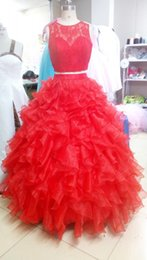 Wholesale Cheap Quinceanera Dresses Sexy High Collar Two Pieces Detachable A Line Dress Lace Applique Sweet Dress Prom Gowns