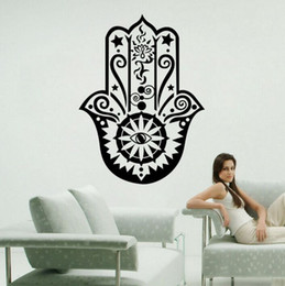 Art Wall Sticker Hamsa Hand Wall Decal Vinyl Fatima Yoga Vibes Sticker Fish Eye Decals Indian Buddha Home Decor Lotus Pattern Mural