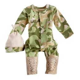 Wholesale 2016 Cool Boy outfits Baby tracksuits rompers hat set Baseball Bodysuit Long sleeve cotton camo baby clothes Autumn