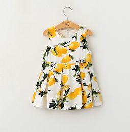 Wholesale Childrens Summer Fashion A line Dress Two Colors Girls Sleeveless Lemon Printed Elegant Sundress Kids Korean Style Clothes KB359