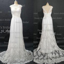 2013 vestidos de novia de la vendimia con las mangas transparentes del casquillo Escote transparente y tren del barrido del cordón (Compre 1 consiga 1 tiara libre)