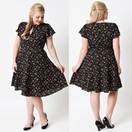 Wholesale Plus Size Women s s Casual Dresses Hot Flora Key Hole Neck Knee Length Women Clothing Cheap Mother Dresses FS0002