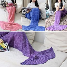 Wholesale 16 Colors Women Children Knitting Handmade Air conditioning Plush Mermaid Tail Shape Sofa Blanket