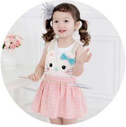 Wholesale Bebezoo children princess dress Girls cute cartoon cat suspender dress korean style kids plaid dress children clothing pink blue A9017