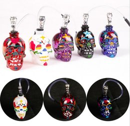 online shopping Colored Skull Pipes Glass Hookahs Bong Zinc Alloy Glass With Leather Hose Portable Mini Pipes Smoking Accessories Lipstick Smoking Pipe