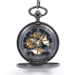 discount mechanical wind up pocket watches 2017 mechanical wind black mechanical antique pocket watches for chain half hunter hand wind up modern pocket watches