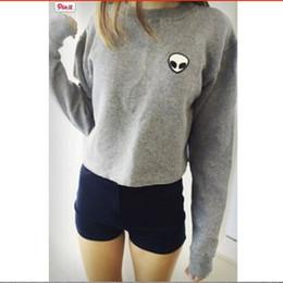 Wholesale Embroidery ET Aliens Hoodies Sweatshirts harajuku Crew neck Sweats Women Clothing Feminina Loose Short Fleece Jumper Sweats
