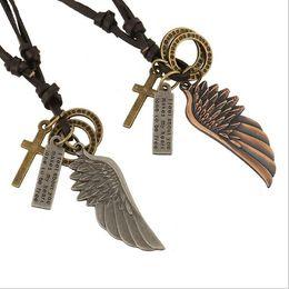3 Colores Hombres Vintage Angel Pluma Águila Ala Cruz De Cuero De Cadena De Collar De Regalo Colgante