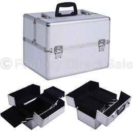 Wholesale Pro quot x9 quot x10 quot Aluminum Makeup Train Case Jewelry Box Cosmetic Organizer Silver