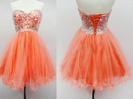 Wholesale Orange Short Mini Junior Prom Dress Real Picture Crystal Rhinestone Corset Back Occasion Party Cocktail Gown Homecoming Dresses Cheap