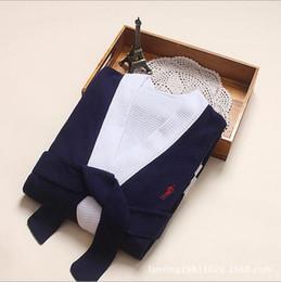 Al por mayor-2016 la ropa de los trajes de los hombres de los pijamas del traje de la sauna del vapor de Khan de la albornoz de los trajes de la galleta del algodón libera el envío