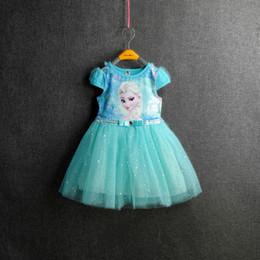 Wholesale 2 Couleur Filles Frozen Cinderella dentelle paillette manteau enfants Robe belle princesse Elsa Anna dentelle Robe bowknot manches courtes robe fille