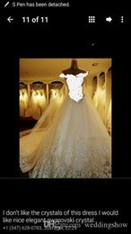 Wholesale Luxurious Sparkly Arabic Wedding Dresses Sheer Neck Long Sleeves Rhinestones Bridal Dresses Ball Gown Lace Wedding Gowns