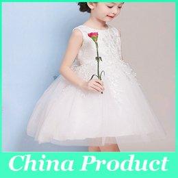 Свадебные платья Белые кружева цветок девочки платья с Bowknot для девочек День рождения платье партии Тюль Pageant платье