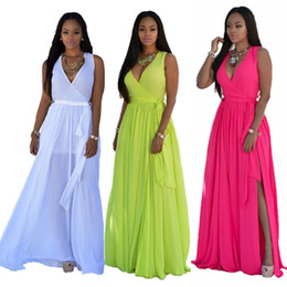 Wholesale 2016 Dresses For Womens Summer Maxi Dress Boho Beach Rose Yellow White Party Dresses Ladies Sundress Elegant Sexy Casual Chiffon Long Dress