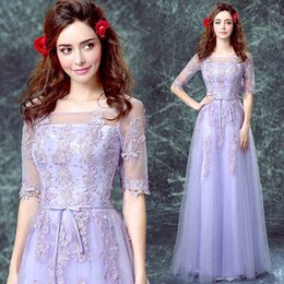Wholesale Simple Modest Lavender Long Bridesmaid Dresses Half Sleeves Lace Applique Elegant Prom Gowns Tulle Party Gowns Off Shoulder Free Shippi