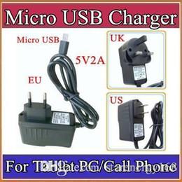 Micro USB 5V 2A del adaptador del convertidor del cargador de energía de Estados Unidos EU Reino Unido enchufe de CA 100-240V para 7