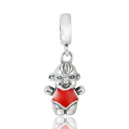 Wholesale GW Baby boy red chinese style chest covering Charms dangles made from sterling silver fit pandora style bracelets pendant No70 lw S340