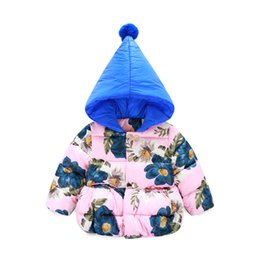 Wholesale Children Down Coat Christmas Girls Winter Coats Flowers Pattern Hooded Baby Jacket Outwear Girls Outerwear Coat