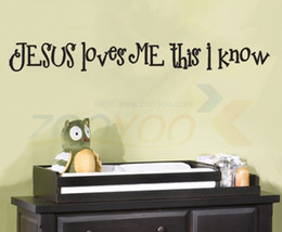 Jesus Loves Me This I Know Quote Wall Decal Decorative Removable Vinyl Wall Stickers Home Decor Home Decoration