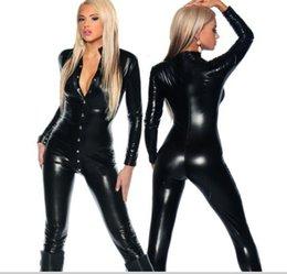 Wholesale Top Toughness Elastic Lady Sexy Black PVC Vinyl Bodysuit Long Sleeve Front Button Jumpsuit Stripper Pole Dance Clubwear Lingerie