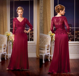 Elegant A Line Floor Length Chiffon V Neck Three Quarter Sleeve Appliques Lace  Mother of the Bride Dresses Chiffon Mother Gowns 03890714dbd5