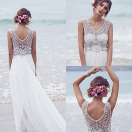 Wholesale Romantic Anna Campbell Boho Beach Wedding Dresses Beading Illusion V Necklines Backless Bohemian Bridal Gowns Plus Size Cheap bhldn