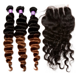 Discount ombre brazilian loose wave closure 7A Natural Ombre Human Hair Weaves with Closure 1B 30 Loose Wave Brazilian Malaysian Human Hair Weave Two Tone Ombre Human Hair Bundles
