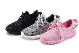 Wholesale Hot sales High quality Air Mesh Yeezy Soft Kids Sports Shoes Girls Trainers Boys Sneakers Black Children Running Breathable Casual Shoes