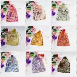 Wholesale JJA52 Golden Glitter Rose Organza Bags Wedding Bridal Favors Gift Drawstring Wrapping Bags Candy Jewelry Pouches X9cm