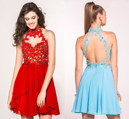 Wholesale Cute A line Halter Sleeveless Applique Crystals Formal Sexy Open Back Red Prom Dresses Short for th Grade Teens HY1555