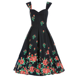 Wholesale 2016 Women Rockabilly Flora Casual Dresses Printing A Line Spaghetti Straps Sexy Off Shoulder Women Fashion Clothing Plus Size FS0003