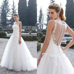 2016 Gorgeous Dream Dress Drop Waist A Line Wedding Dresses Sheer Bateau  Neckline Sleeveless Beaded Lace Appliques Soft Tulle Bridal Gowns