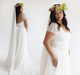 Excellent Plus Size Fairy Bohemian A Line Full Lace Wedding Dresses Rustic Countryside Bridal Gown Tiered Chiffon Skirt Cap Sleeves Backless Winter
