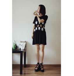 Wholesale robe d été rue korean de harajuku battre mickey palmiers roche kawaii cute sexy creux mince noir lâche robe femmes
