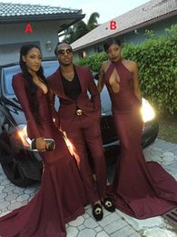 Wholesale 2k16 Maroon Prom Dresses Sexy Mermaid Sheath Sweep Train Evening Dresses Wear Formal Cocktail Party Dress Custom Made Cheap Gowns
