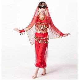 2016 Designer Indian Bollywood Dancing 5,piece Set Coins Headpiece, Top, Belt and Pants Sequin Sleeves Kids Belly Dance Costumes