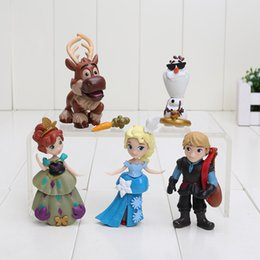 online shopping 5pcs set Q Version Anna Elsa Kristoff Sven Olaf PVC Action Figure Model Collection Toy Dolls