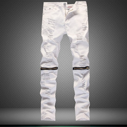 Discount White Ripped Knee Skinny Jeans | 2017 White Ripped Knee ...