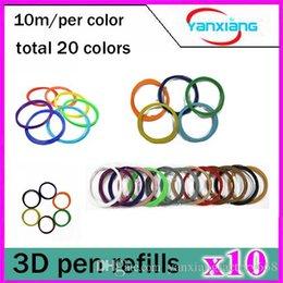 Discount pen refills blue color 10pcs PLA 3D Printer Accessories Filament 1.75mm 10M 20 Color Sample Pack 3D Pen Filament Refills YX-CL-01