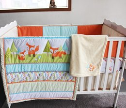 Wholesale 8 pieces baby bedding set embroidery D prairie fox cotton quilt bedskirt bumper Fitted blanket crib bedding set