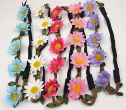 Wholesale Boho Daisy Hair Bands for Women Hair Accessories New Headbands Scrunchy Elastic Flower Hair Garland Bohemian beach flower bridal wreath
