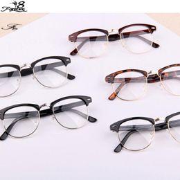 1 pcs classic retro clear lens nerd frames glasses fashion brand designer men women eyeglasses vintage half metal eyewear frame