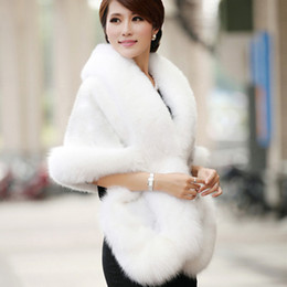 2016 Invernal abrigo de la boda nupcial Faux piel Wraps cálido mantones Negro prendas de Borgoña blanco estilo coreano mujeres chaqueta prom fiesta de noche