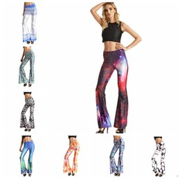Wholesale Women Flare pant Loose Yoga Stretch Wide Leg Palazzo Long Casual Boot cut pants plus size mermaid print casual pant LJJK494
