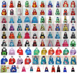 Wholesale 106 Styles Double Side Superhero Capes mask The Avenger Ninja Pikachu cape mask set My Little Pony Frozen Cinderella for Kids CM