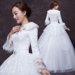 Cool White Wedding Dress Winter New Bride Marry Princess Bubble With Slim Floor Lenght Long Sleeve Villus Velvet