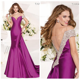 Wholesale Off Shoulder Satin Mermaid Evening Dresses Illusion Back Beaded Crystal Shoulder Formal Tarik Ediz Prom Party Gowns Princess