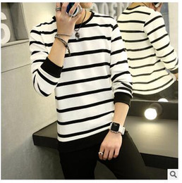 Discount black white stripe sweater men 2016 Hot Sale Leisure Sweaters Men Stripe Hooded Sweater For