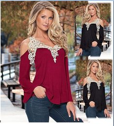online shopping New Fashion Hot Sale Spring Autumn Tops T Shirts for Sexy Women Off Shoulder Long Sleeve Loose Lace Patchwork V Neck T Shirts Blouse Tops